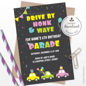 Birthday parade invitation for drive by quarantine party