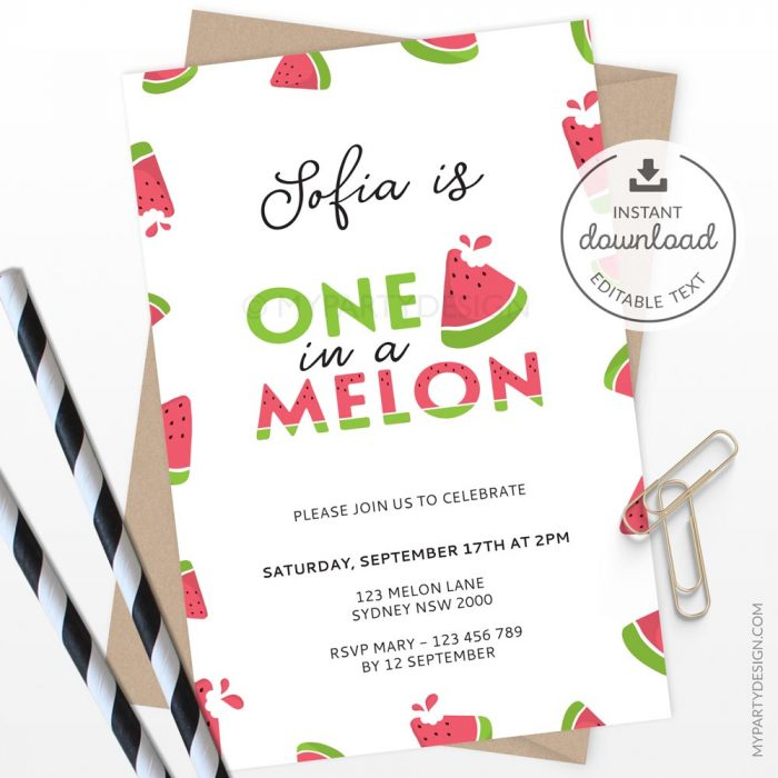 one in a melon birthday invitation for watermelon party