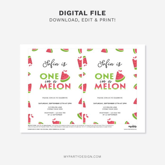 printable one in a melon birthday invitation for watermelon party