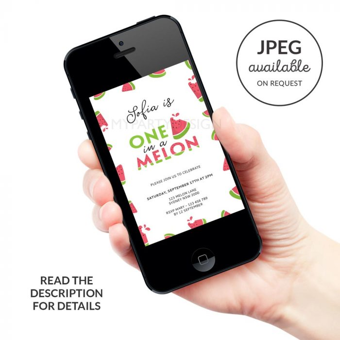 digital one in a melon birthday invitation for watermelon party