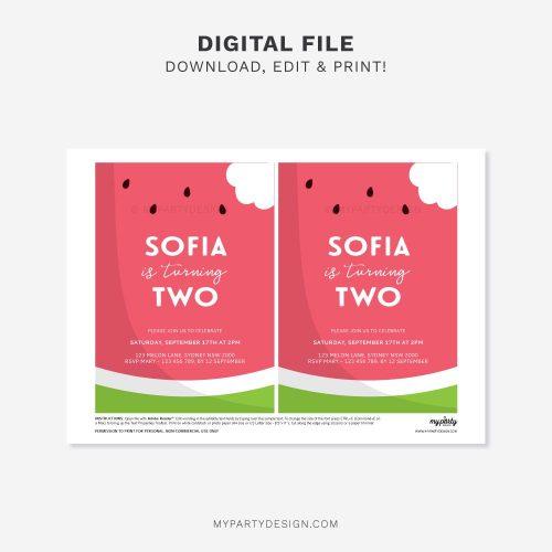 printable watermelon birthday invitation