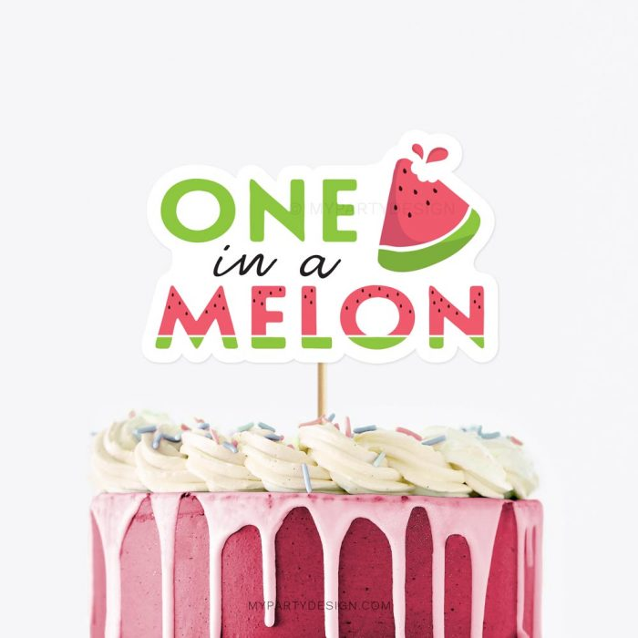 one in a melon cake topper for a watermelon first birthday