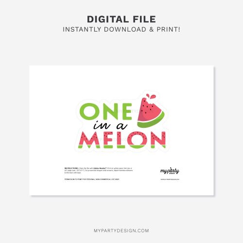printable one in a melon cake topper for a watermelon first birthday