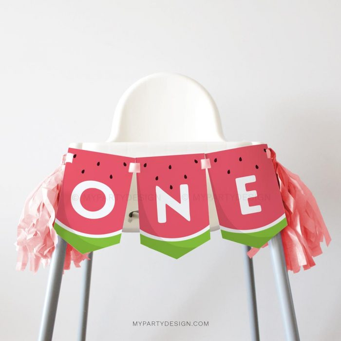 watermelon first birthday high chair banner