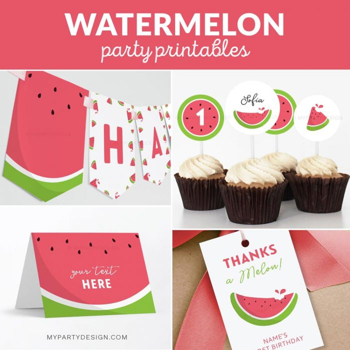watermelon party printables for one in a melon first birthday