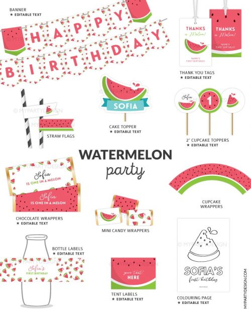 watermelon party printables for a one in a melon first birthday