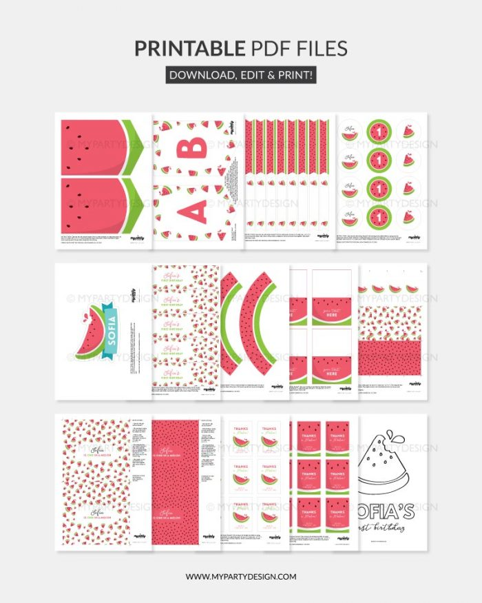 printable watermelon party decorations for one in a melon first birthday