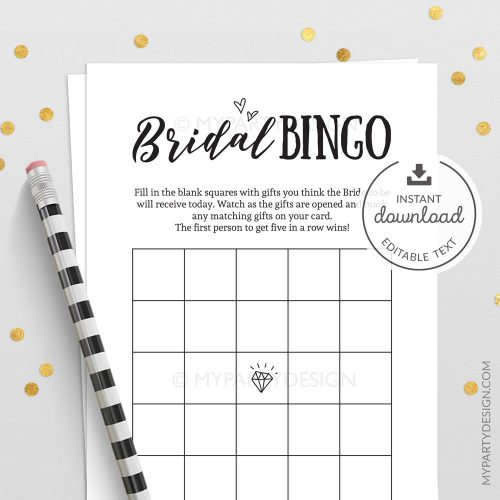 bridal bingo bachelorrete bridal shower game