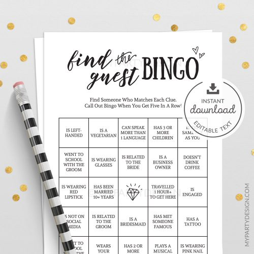 find the guest bingo wedding bridal shower game
