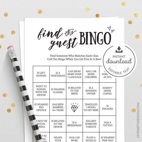 find the guest bingo wedding bridal shower game