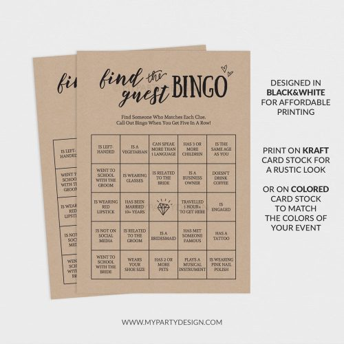 printable find the guest bingo game