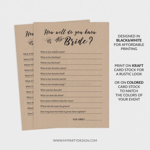 printable how well do you know the bride game