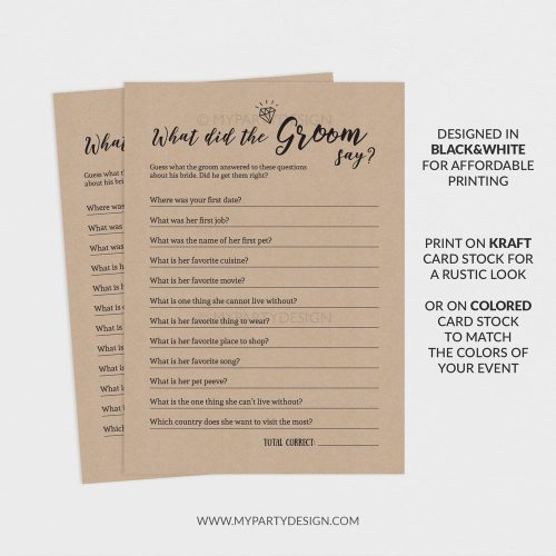 printable what did the groom say game