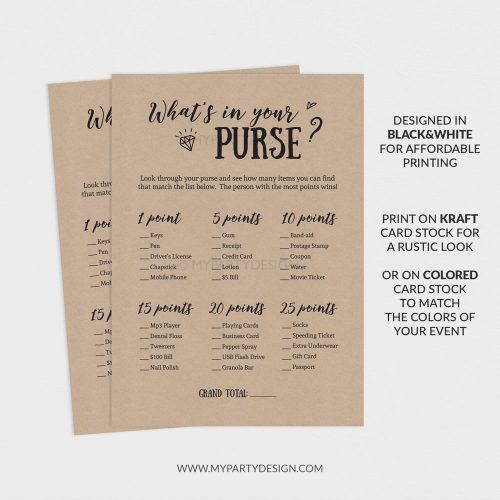 printable whats in your purse game