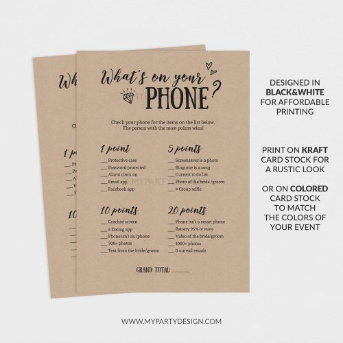 printable whats on your phone game
