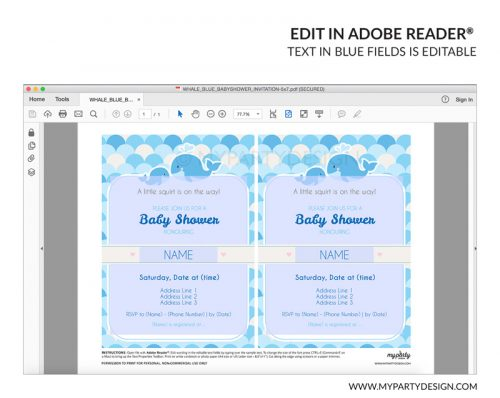 blue whale baby shower party invitation - editable printable invite