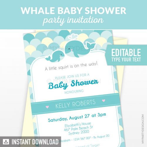 turquoise whale baby shower invitation printable and editable