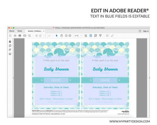 turquoise whale baby shower party invitation - editable printable invite
