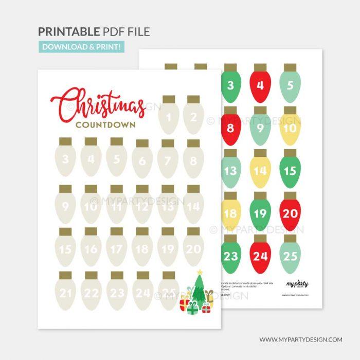 printable christmas countdown advent calendar