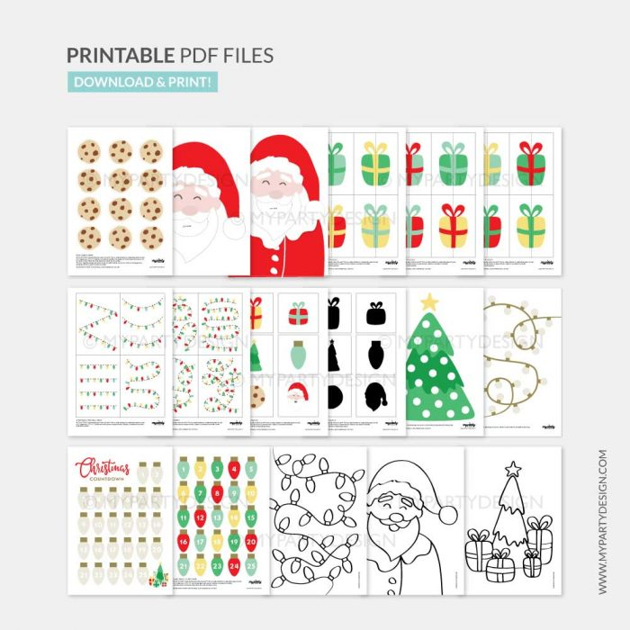Printable Christmas Activities, playdough mats and games for children