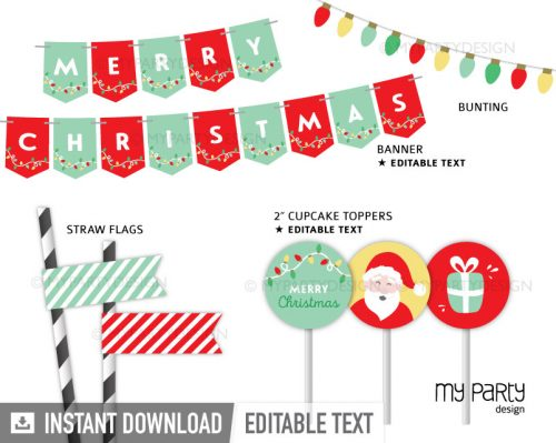 printable christmas party pack