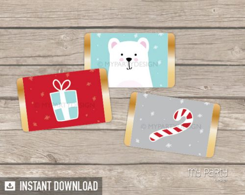 christmas party mini chocolate wrappers printable