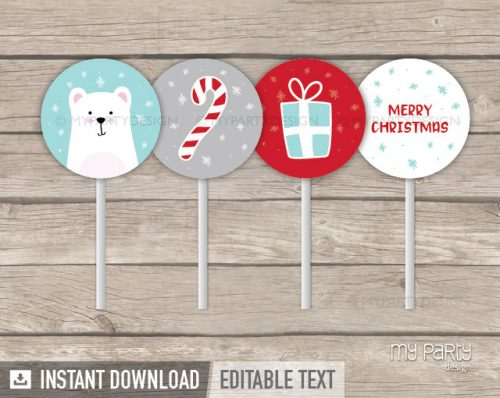 christmas party cupcake toppers printable