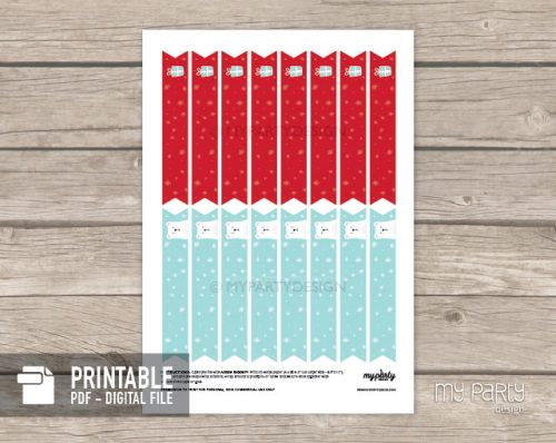 christmas party straw flags printable