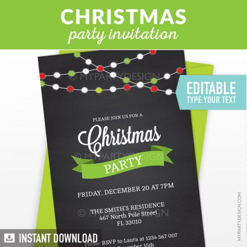 Chalkboard Christmas Party Printable Invitation