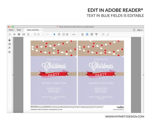 christmas party invitation - editable printable invite