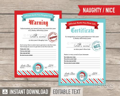 printable nice list certificate and naughty list warning