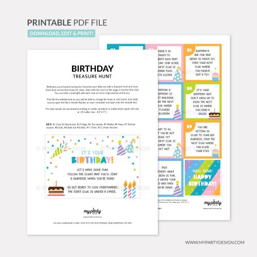 printable birthday scavenger hunt
