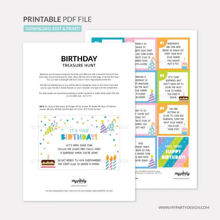 printable birthday scavenger hunt