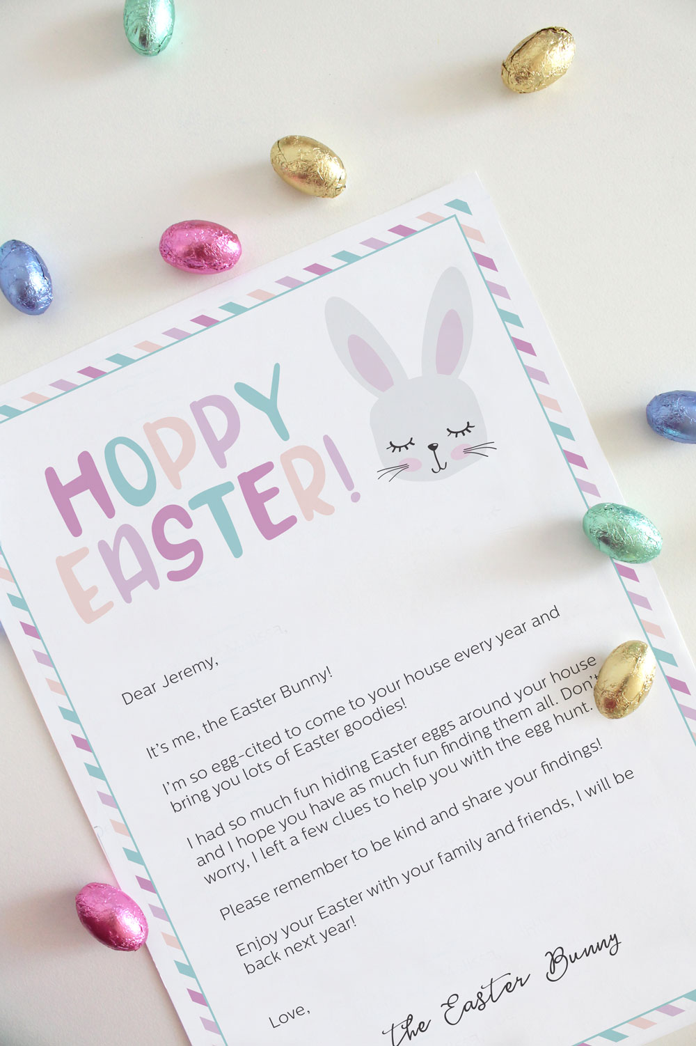 Easter Bunny letter for kids, printable and editable