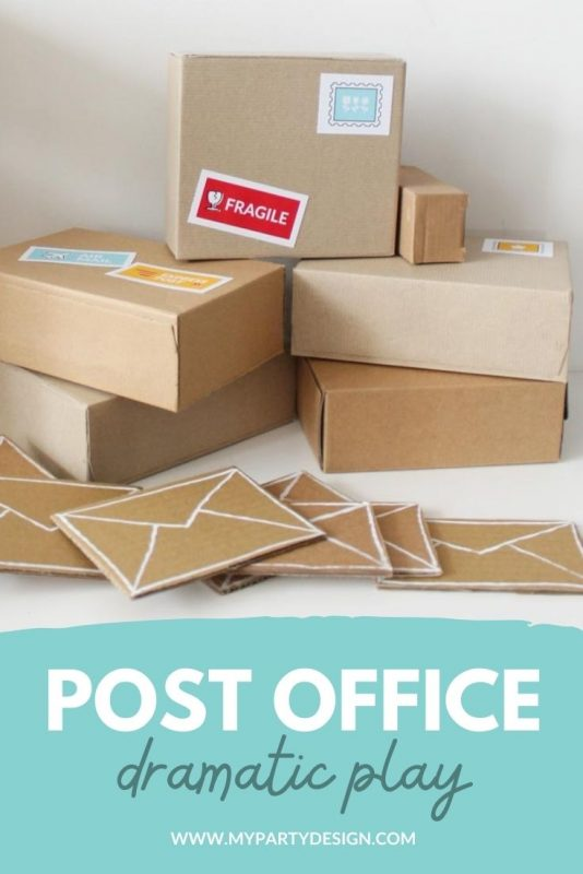 set up a post office dramatic play space for imaginative play