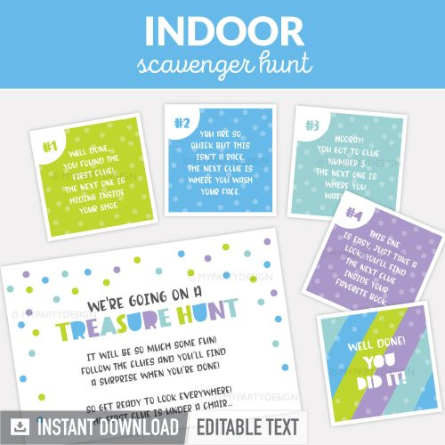 indoor scavenger hunt clues for kids