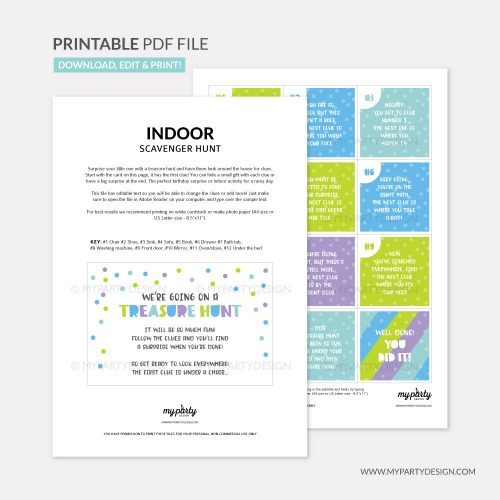 printable indoor scavenger hunt clues