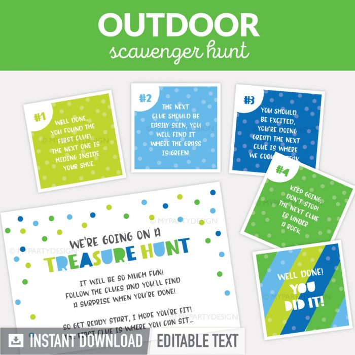 outdoor scavenger hunt clues for kids