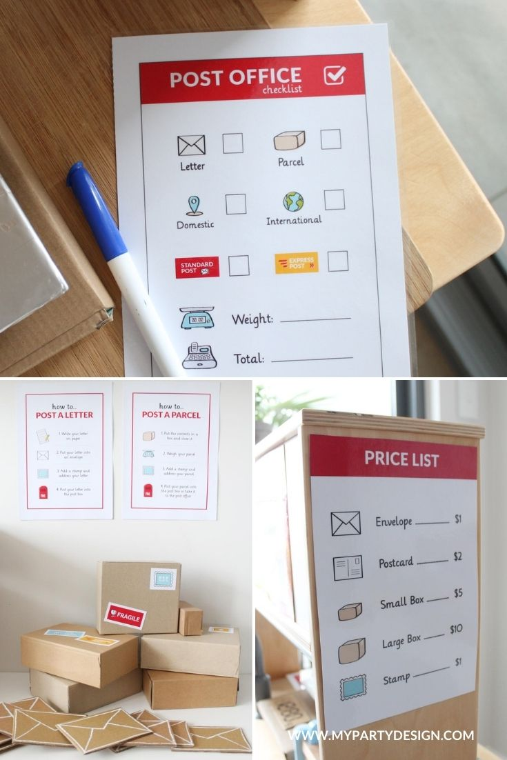post office dramatic play signs and forms for imaginative play