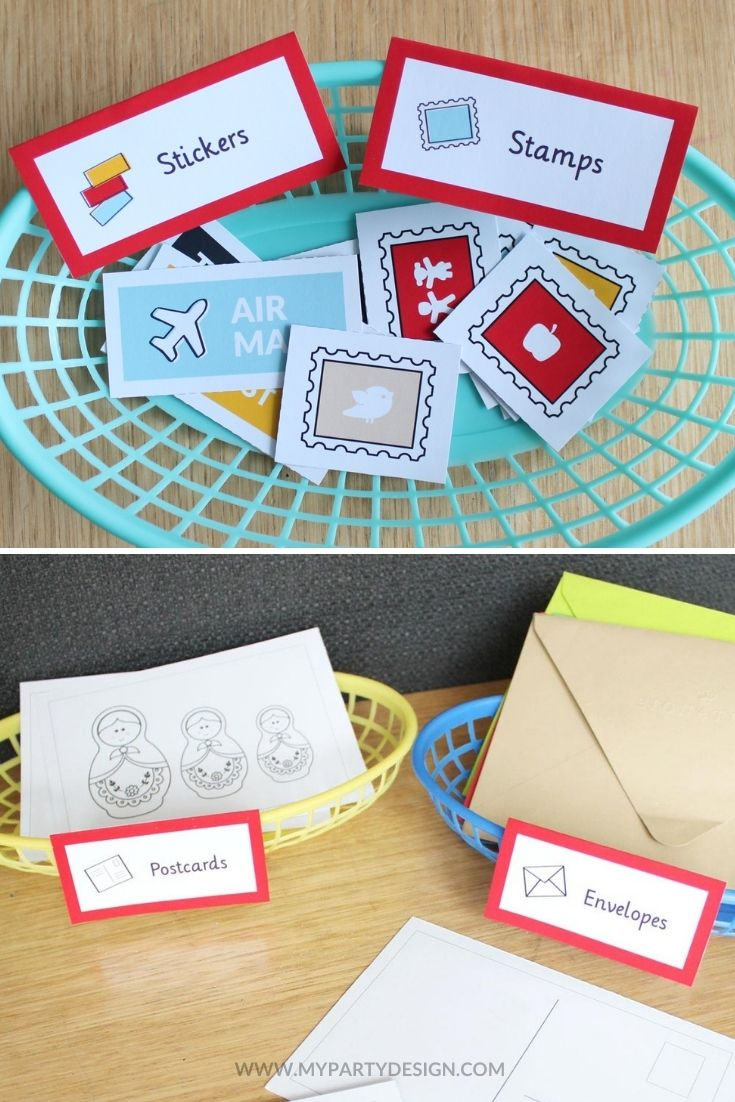 post office dramatic play labels and stamps