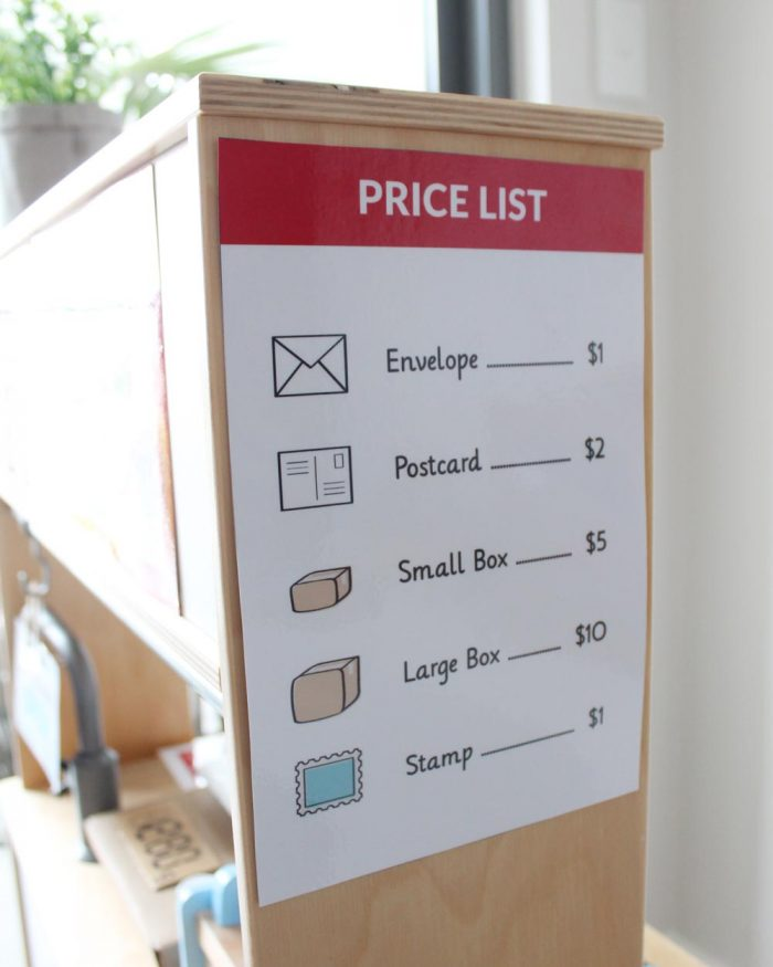 Post Office dramatic play price list