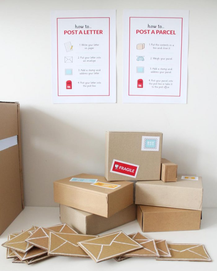 Post Office dramatic play letters and parcels