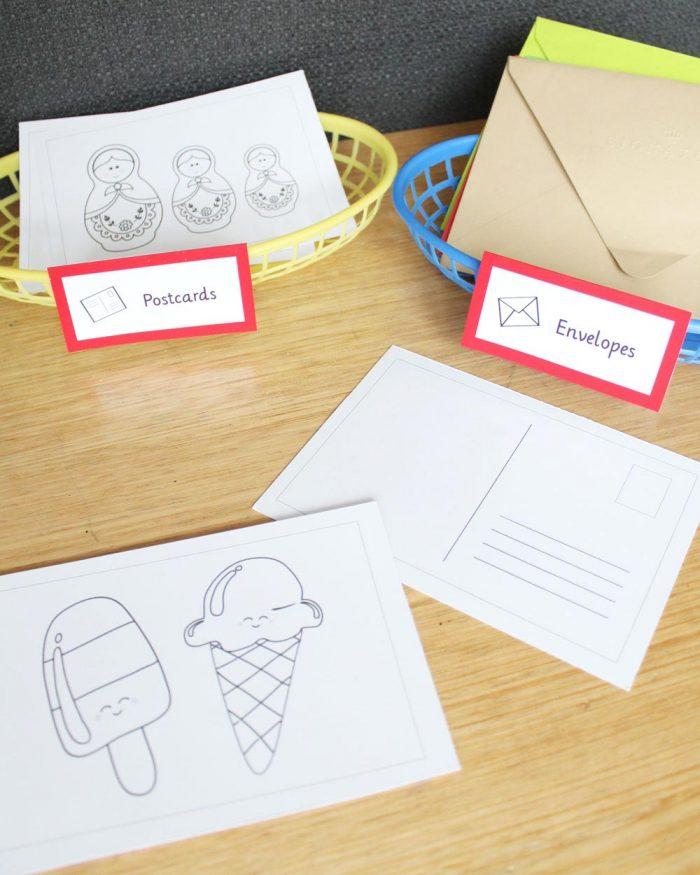 printable postcard templates for dramatic play