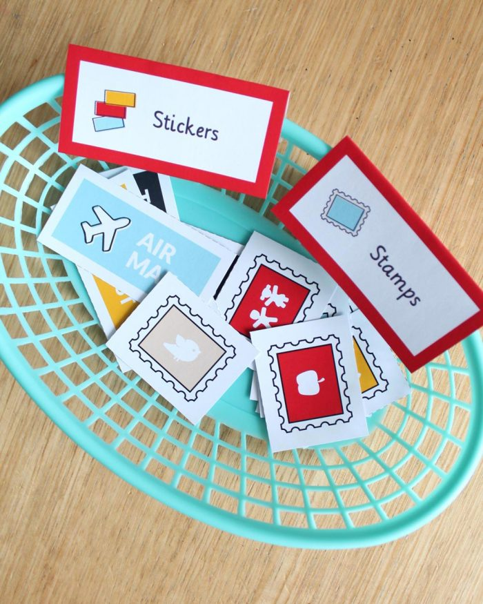 Post Office dramatic play stamps and stickers