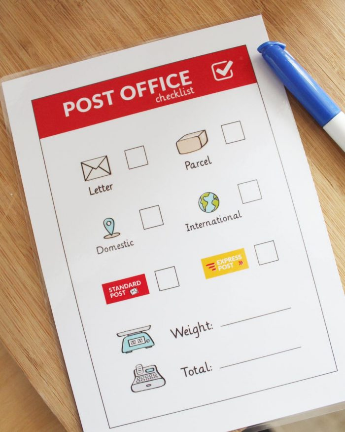 Post Office dramatic play check list