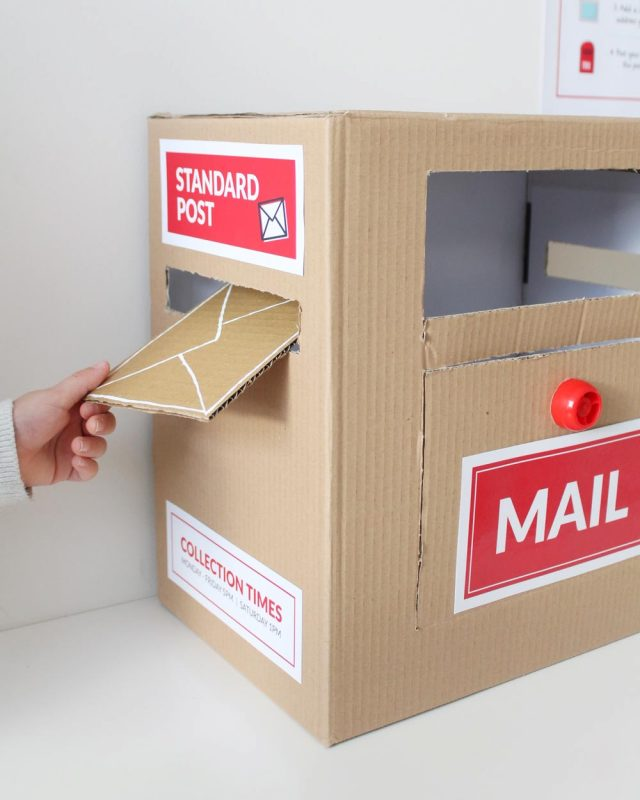 diy cardboard mail box for post office dramatic play