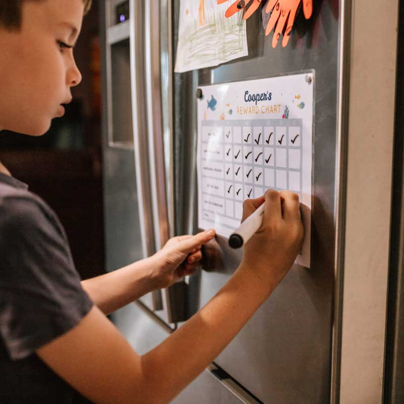 boy ticking off his reward chart for kids