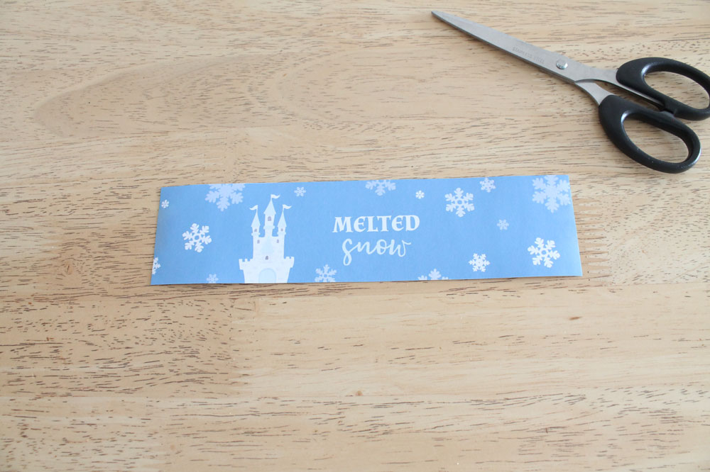 printable bottle label, melted snow water label